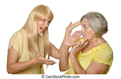 Mother and daughter having problem or quarrel