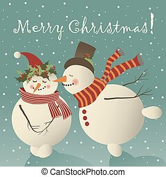 Two cute snowman in love celebrating Christmas.Vector...