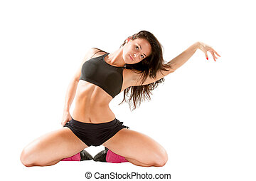 Sexy young yoga woman doing yogic exercise on isolated white...