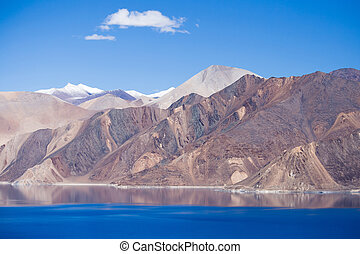 Pangong Lake, Ladakh, India - The sunny day at Pangong Lake....