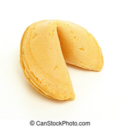 Fortune Cookie - A whole fortune cookie on white background