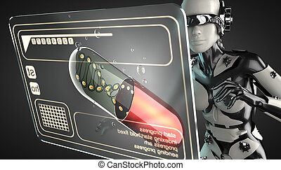 robot woman manipulating hologram display - cyborg woman...