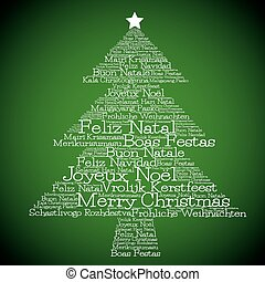 Christmas tree made from quot;Merry Christmasquot; in...