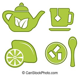 green tea set - isolated green tea set with kettle, lemon,...