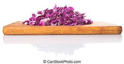 Chopped Red Cabbage - Chopped red cabbage on cutting board...