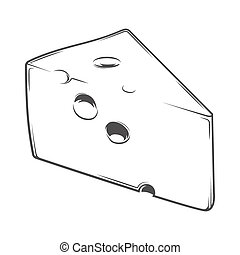 Cheese Chunk isolated on a white background. Monochromatic...