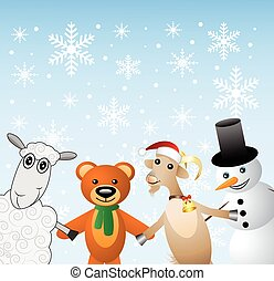 snow man with beasts