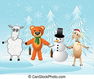 snow man with beasts on a festive background, vector...