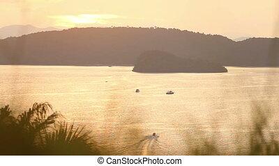 sailing boat at sunset