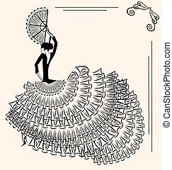image of flamenco dancer with fan - abstract beige...