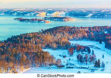 Winter Scandinavian scenery - Scenery of winter sunset in...