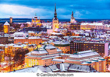 Winter evening aerial scenery of Tallinn, Estonia - Scenic...
