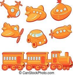 Set of boys toys - transport cartoons - train, car, plane,...