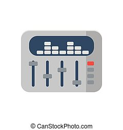 sound mixer icon on white background, vector - sound mixer...