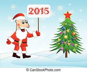 Santa claus, christmas tree