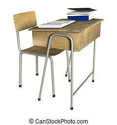 School Desk - 3D digital render of a wooden school desk with...