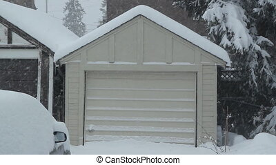 Winter garage - Small one car garage during a snowstorm...