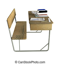 School Desk - 3D digital render of a double school desk with...