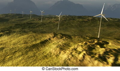 (1114) Wind Turbine Power Grid on Plains with Stormy Wilderness Sunset