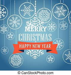 Christmas greeting card with snowflakes on background