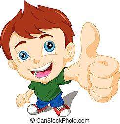 cute little boy giving you thumbs u - illustration of cute...