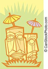 Tiki #3 - Retro tiki in an island setting with poster...
