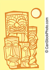 Group of Tikis - Mixed group of tikis side and front views