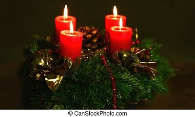 advent wreath on turn table