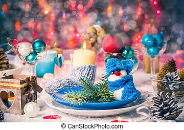 Christmas xmas eve table board setting New Year - Festive...
