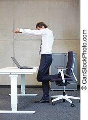 short break for exercise - exercises in office business man...