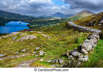Irish Landscape - View over valley in Killarney National...