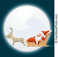 Santa flying in his sledge - Illustration of Santa flying in...