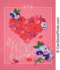 Valentine's day card with Red hearts confetti in big heart shape