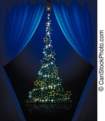 Tree curtains - Abstract tree Christmas tree behind a screen...