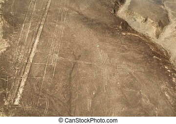 Nazca line: Hummingbird - Lines and Geoglyphs of Nazca, Peru...