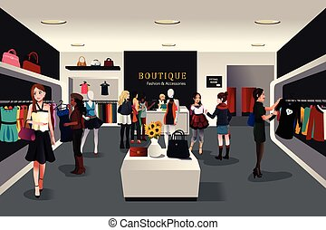 Inside modern clothing store - A vector illustration of view...