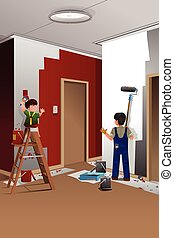 Father son painting a wall - A vector illustration of father...