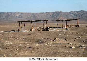 Open cemetery in Nazca, Peru - Chauchilla Cemetery Tomb in...