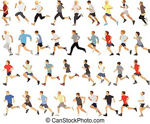 Runners - Large collection of running silhouettes,...
