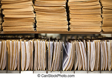 File folders - Shelf with file folders in a archives
