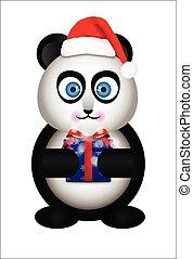 Panda in the Santa hat - Panda Santa Claus. Panda in the cap...