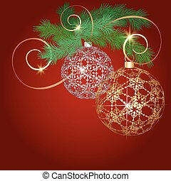 Christmas decorations - Card with Christmas balls with fir...