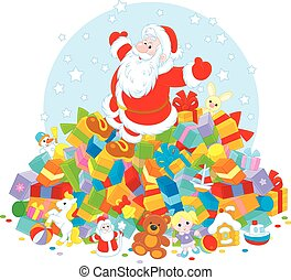 Santa Claus with gifts - Father Christmas sitting on a big...