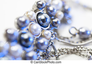 Jewels picture over white background. Close-up.Isolated