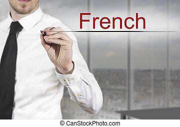 homem negócios, escrita, francês, em, a, ar,