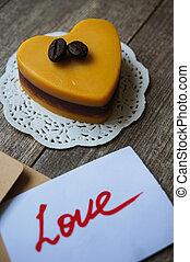 pastel, corazón,  Mocca, formado