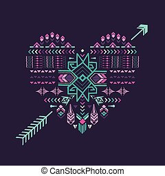 Tribal Heart - Vintage Aztec Background - hand drawn in vector
