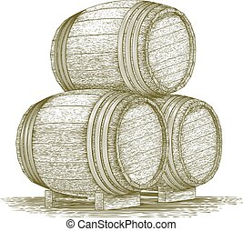 Woodcut Whiskey Barrel Stack - Woodcut-style illustration of...