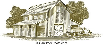 Woodcut Farm Work Scene - Woodcut-style illustration of...