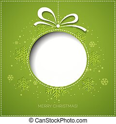 Merry Christmas greeting card with bauble Paper design -...